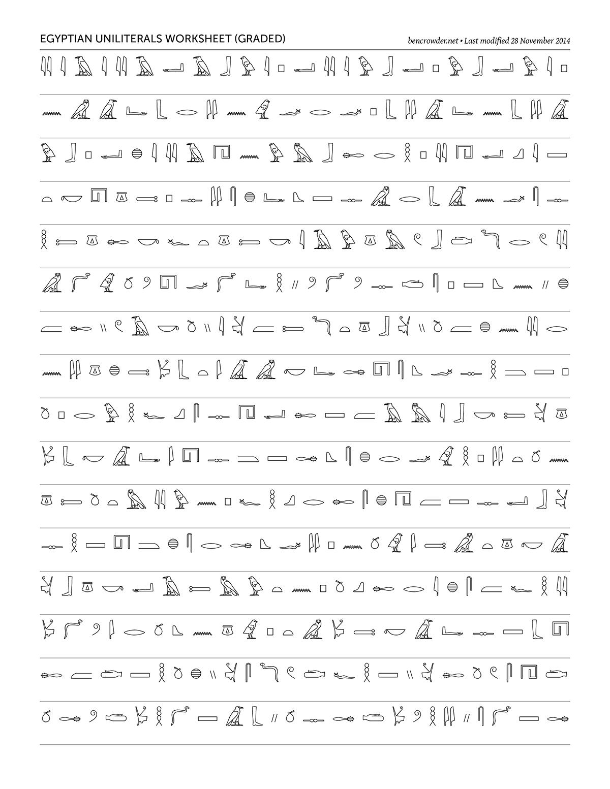 Egyptian Uniliterals Graded Worksheet