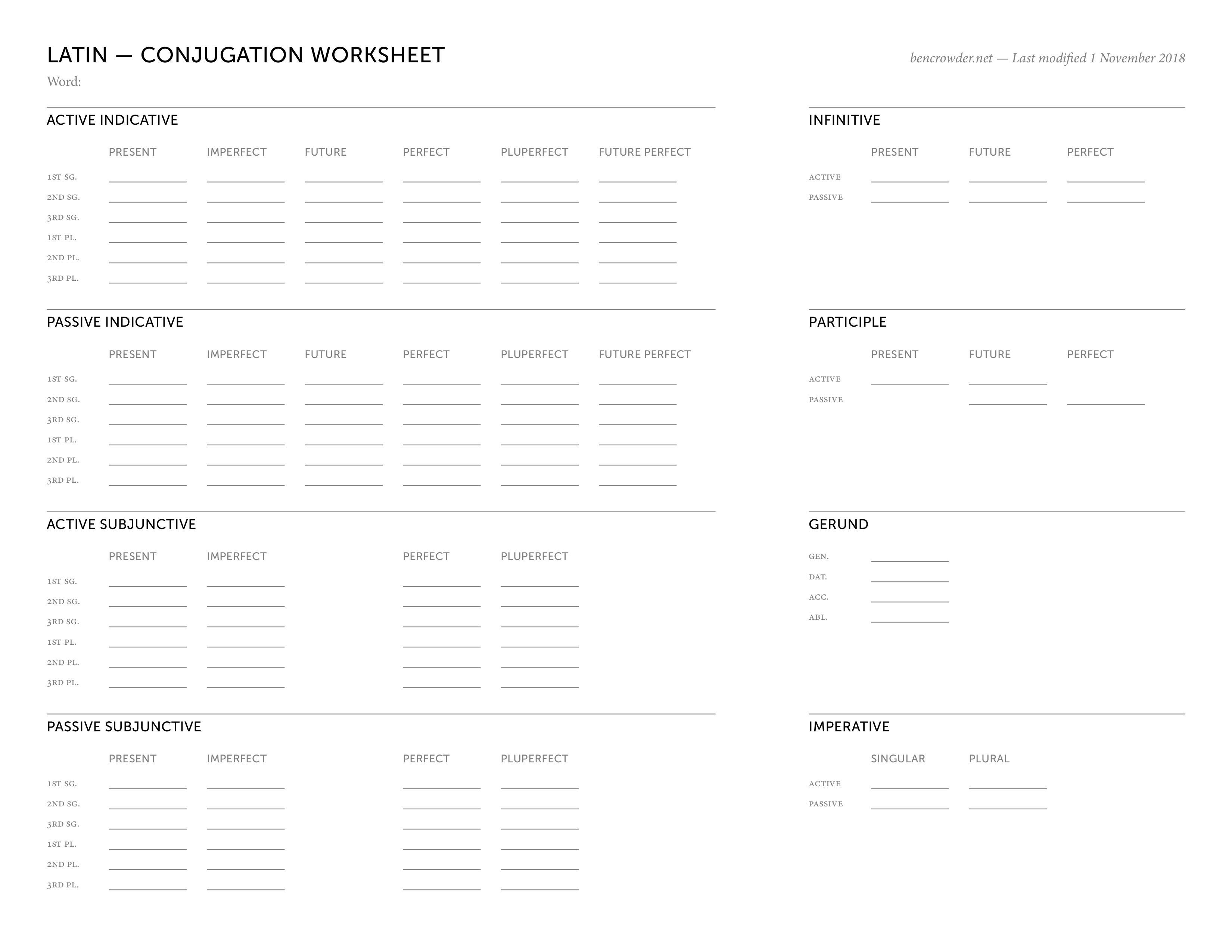 Latin Conjugation Worksheet
