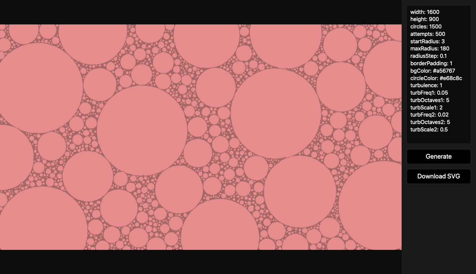 Screenshot of a tool with a settings panel and a canvas with lots of circles on it